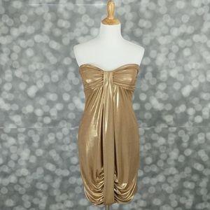 Cache Gold Strapless Mini Dress